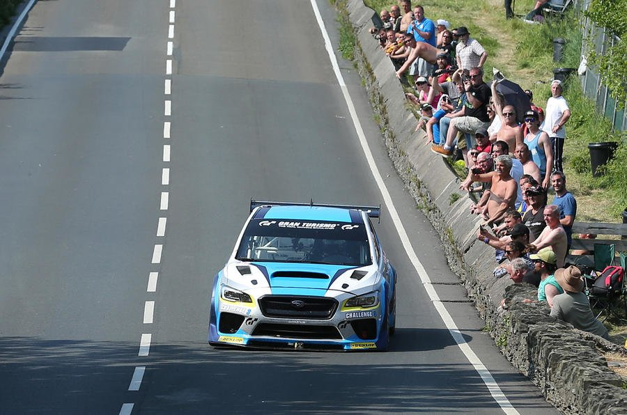 DAVE KNEEN/PACEMAKER PRESS, BELFAST: 06/06/2016:  Mark Higgins in the Subaru WRX STI at Hillberry during his lap around the Isle of Man TT Course.